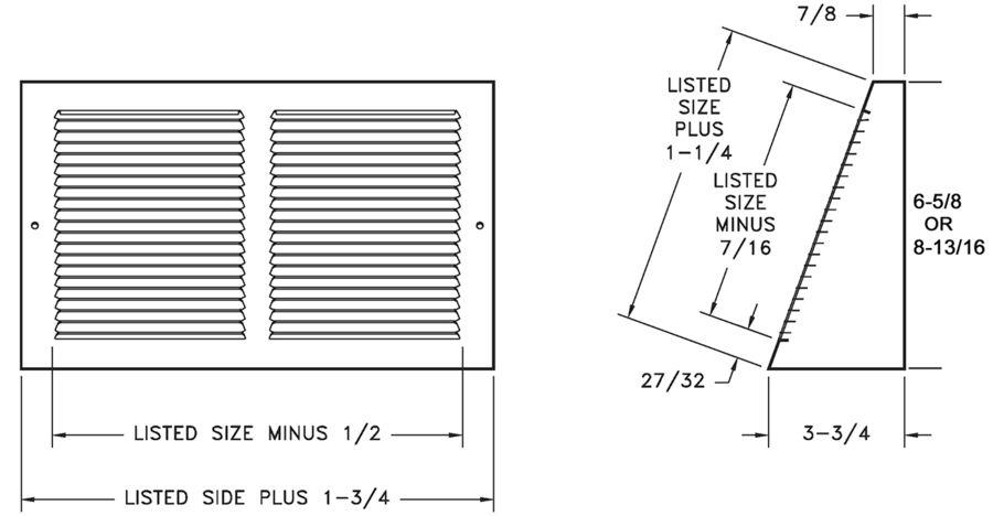 658 — Steel Baseboard Return, Base Projection -dimensional drawing