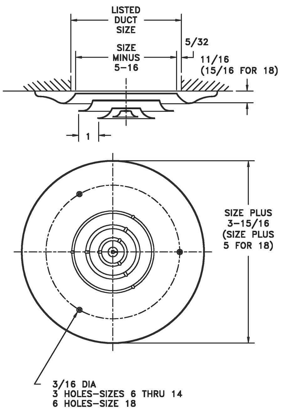 16 Steel Round Diffuser Hart Cooley Hvac Duct Drawing Images Dimensional