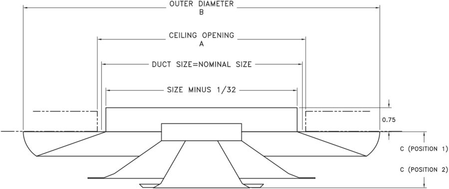 20 Steel Round Ceiling Diffuser Dimensional Drawing