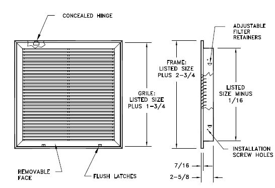 96afbt Steel Fixed Bar Return Air Filter Grille 35