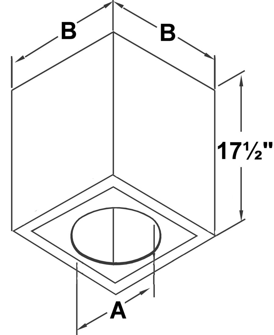 TLCCSS - Cathedral Ceiling Support Box - dimensional drawing