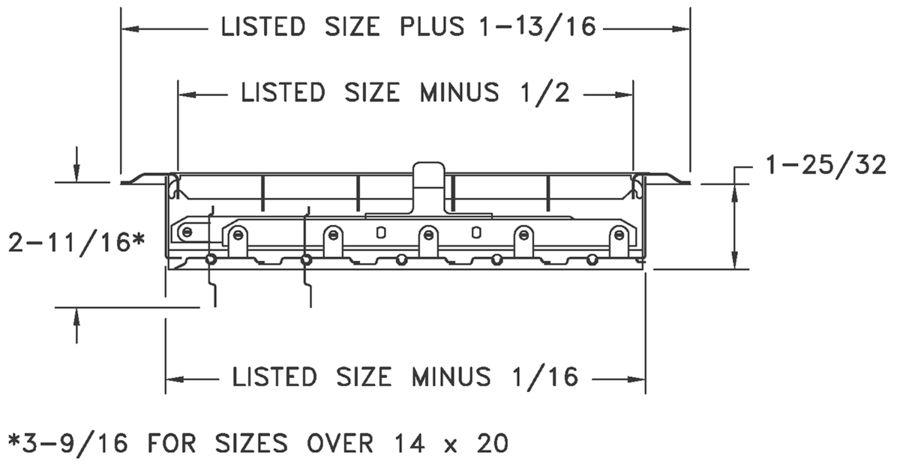 210 - Heavy Duty Steel Floor Register - Dimensional Drawing