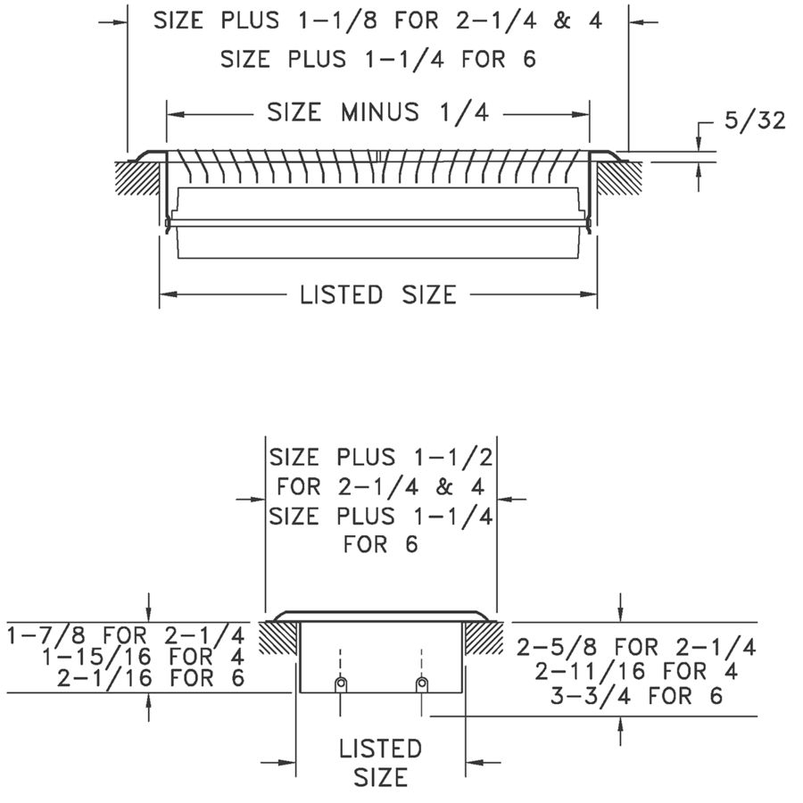 411 - Heavy Gauge Steel Floor Register - Dimensional Drawing