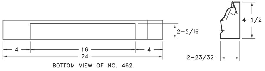 462 - Steel 2 Ft Baseboard Diffuser -dimensional drawing