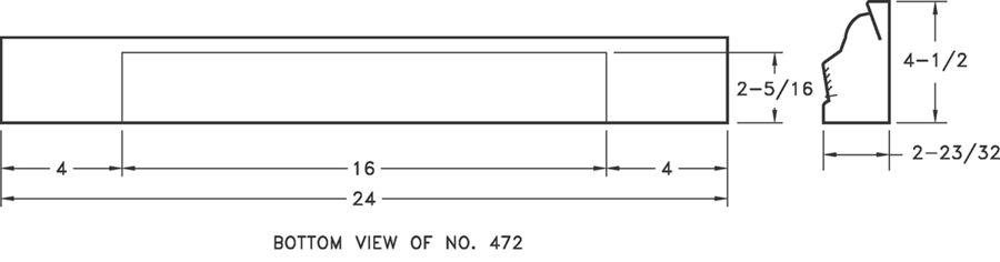 472 — Steel 2 Ft Baseboard Return -dimensional drawing