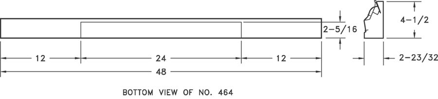 464 - Steel 4 Ft Baseboard Register -dimensional drawing