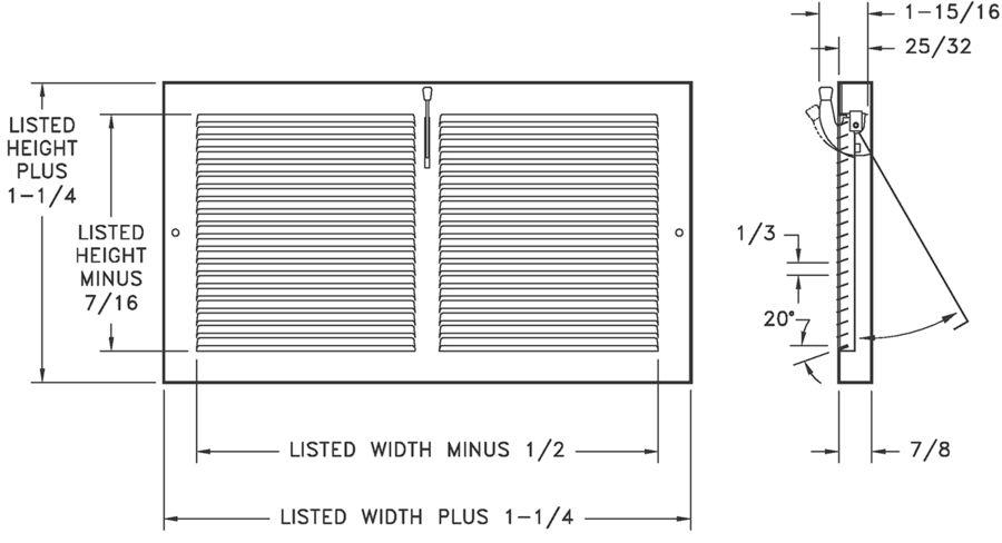654 - Steel Baseboard Register with Plate Damper -dimensional drawing