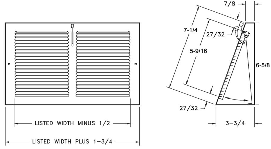 655 - Steel Baseboard Register, Plate Damper, Base Projection -dimensional drawing
