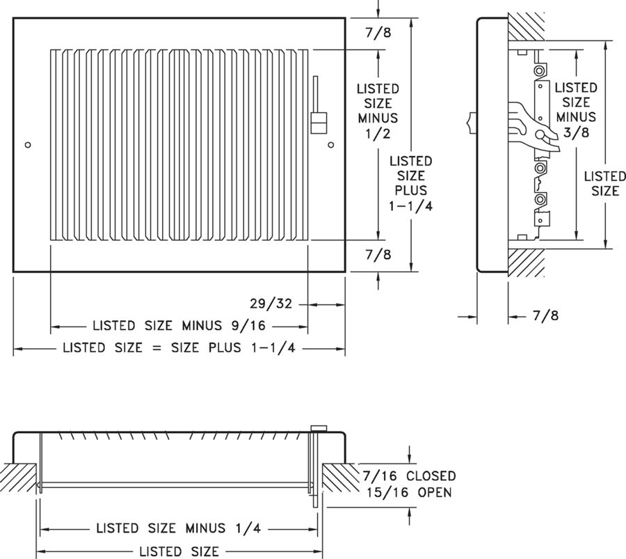 664 — Steel Baseboard Register, Multi-Shutter Damper -dimensional drawing