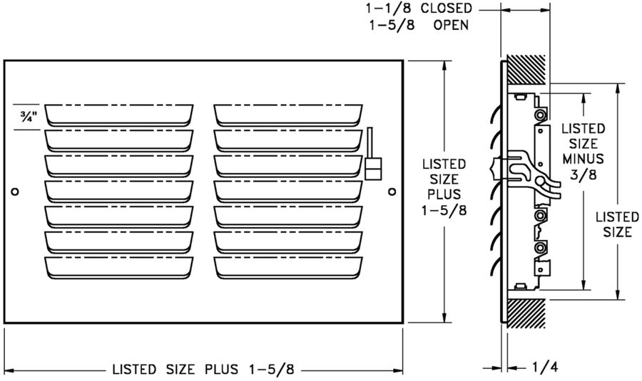 303/A303 — Steel/Aluminum Curved Blade, 3-way Register, MS damper