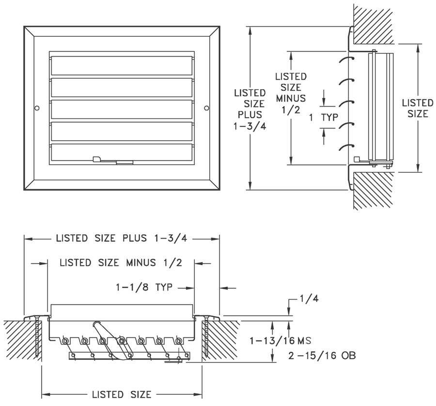 A611MS/A611OB - Aluminum Curved Blade Register, MS or OBD damper, 1-way - Dimensional Drawing