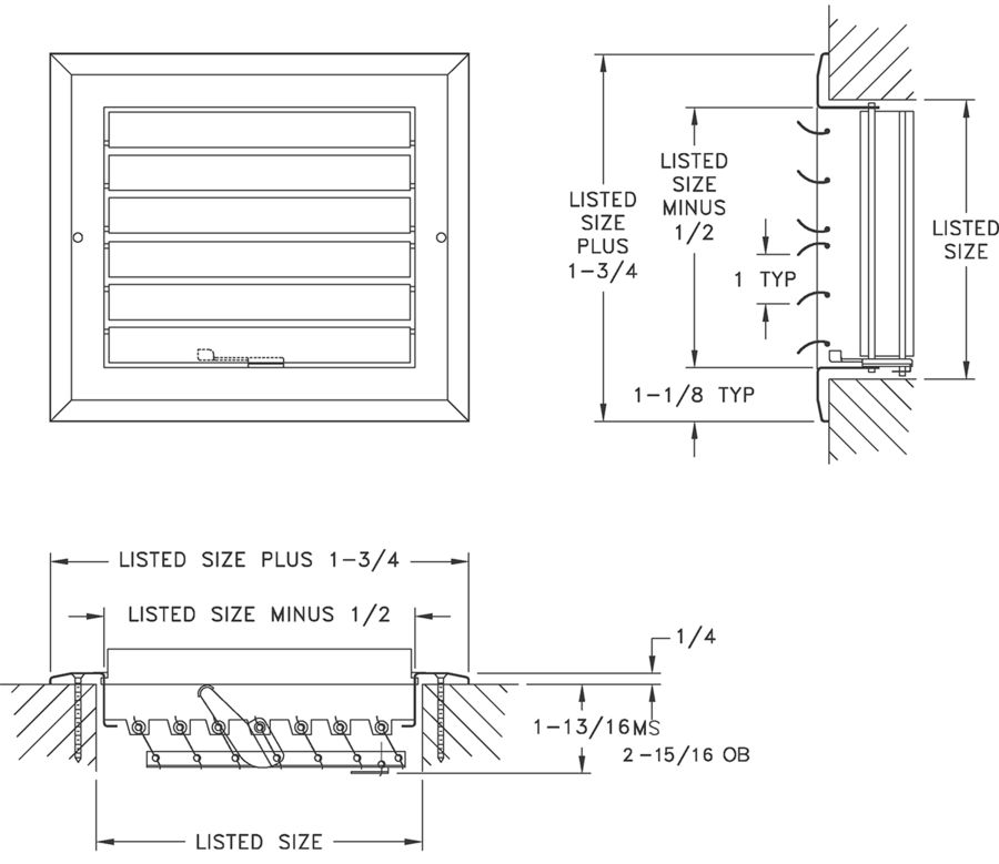 A612MS/A612OB - Aluminum Curved Blade Register, MS or OBD damper, 2-way - Dimensional Drawing