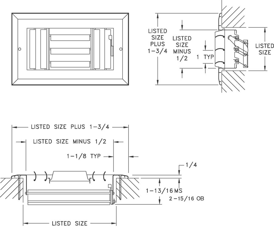 A613MS/A613OB - Aluminum Curved Blade Register, MS or OBD damper, 3-way - Dimensional Drawing