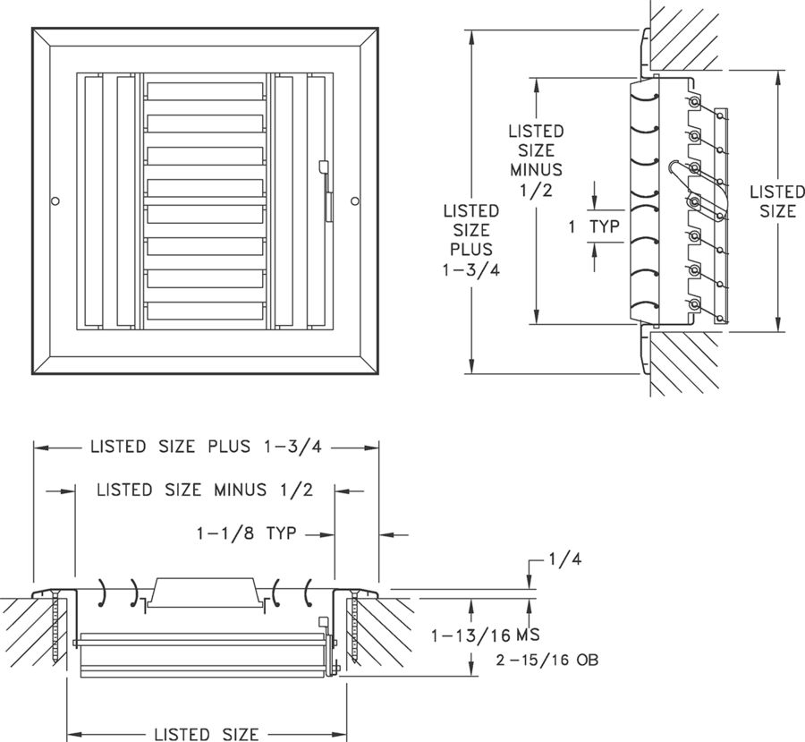 A614MS/A614OB - Aluminum Curved Blade Register, MS or OBD damper, 4-way - Dimensional Drawing