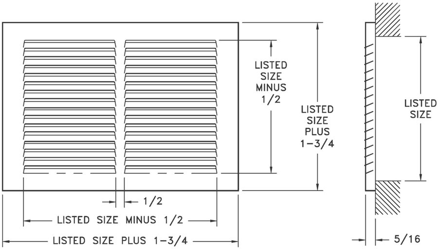 "650/A650 — Steel/Aluminum Return Air Grille, 1/3"" Fin Spacing"
