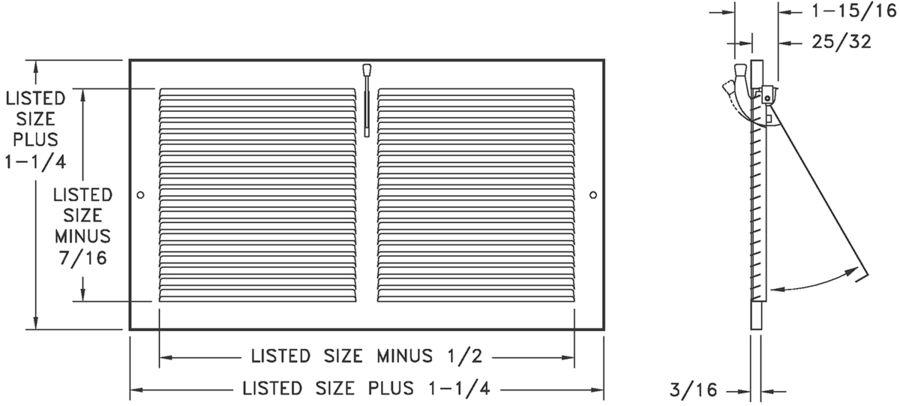 """651 - Steel 1-way Register, Plate Damper, 1/3"""" Fin Spacing"""