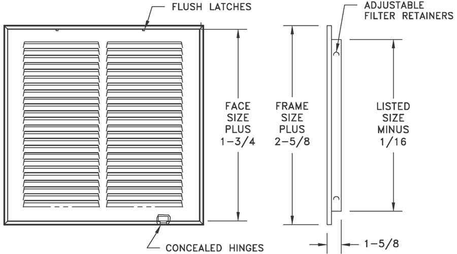 """659 - Steel Return Air Filter Grille, 1/3"""" Fin Spacing"""