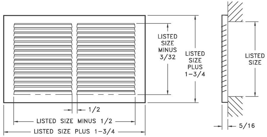 672/A672 - Steel/Aluminum Return Air Grille, 1/2
