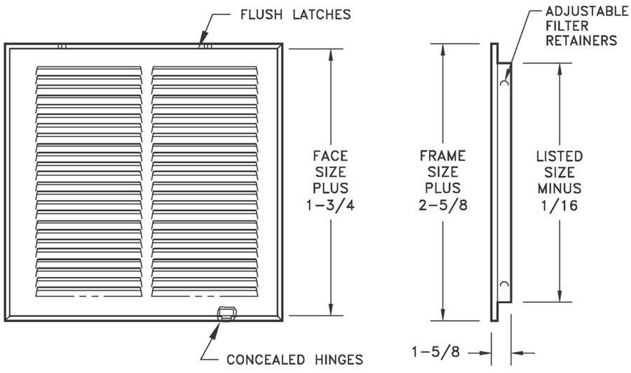 """673 - Steel Return Air Filter Grille, 1/2"""" Fin Spacing"""