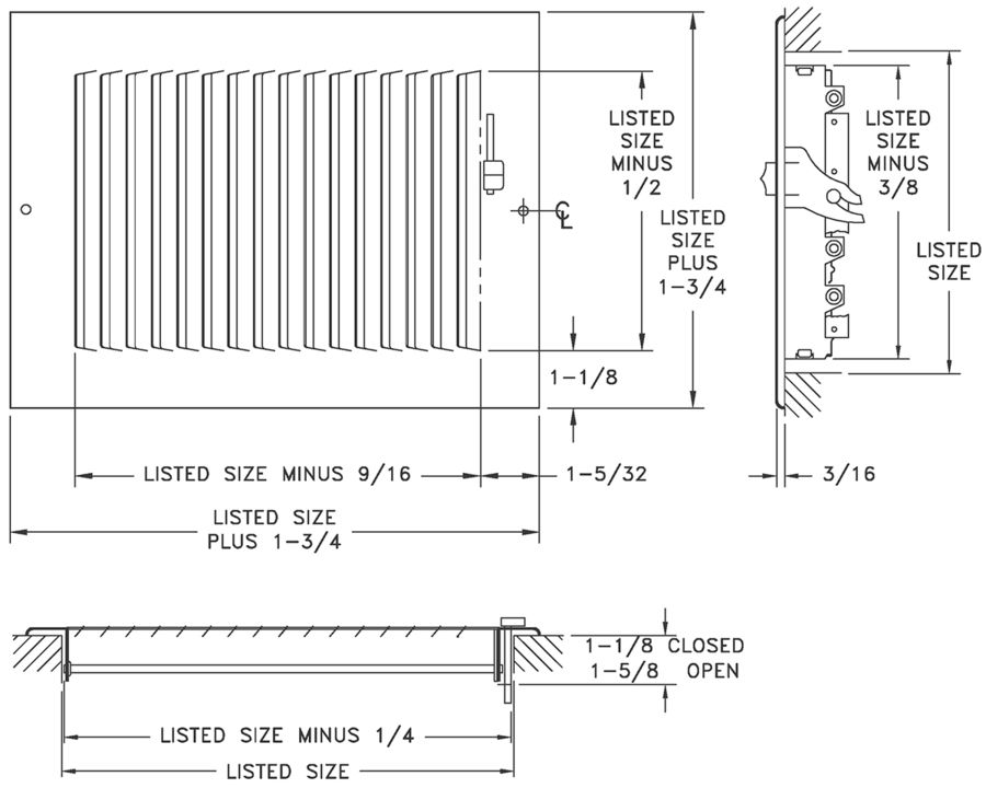 "681/A681 - Steel/Aluminum 1-way Register, MS damper, 1/2"" Fin Spacing -Dimensional Drawing"