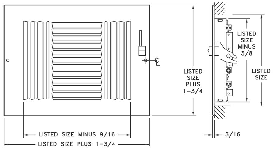 "683/A683 - Steel/Aluminum 3-way Register, MS damper, 1/2"" Fin Spacing -Dimensional Drawing"