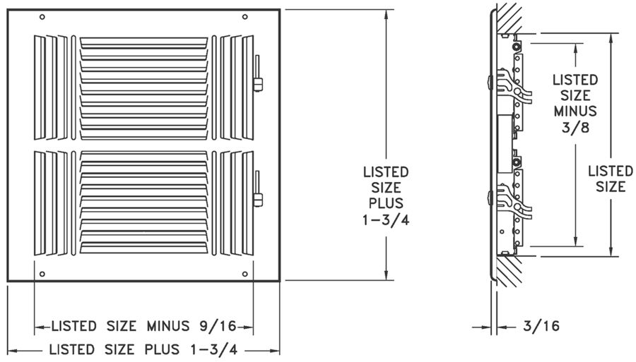 "684/A684 — Steel/Aluminum 4-way Register, MS damper, 1/2"" Fin Spacing - Dimensional Drawing"
