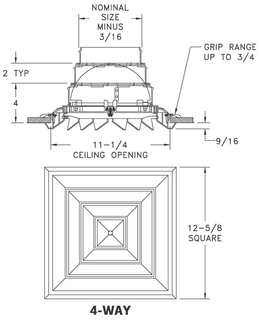 RZ500 — Rezzin Square Ceiling Diffuser, Integral Butterfly Damper - Dimensional Drawings