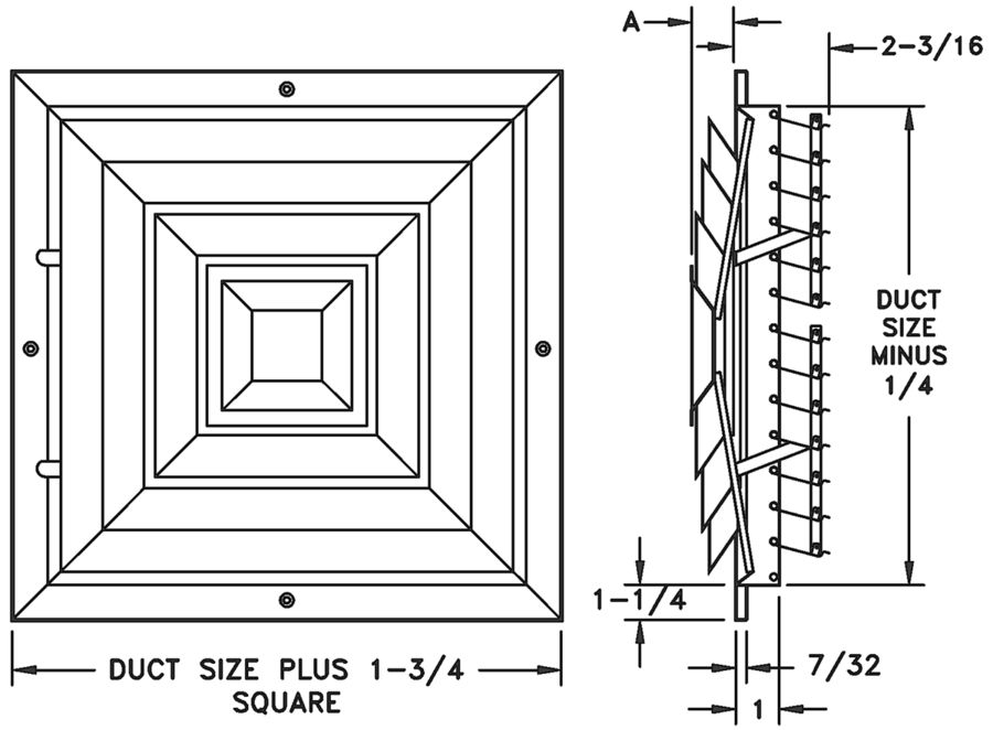 ECSDD — Heavy Duty Steel Evaporative Cooler Diffuser - dimensional drawing