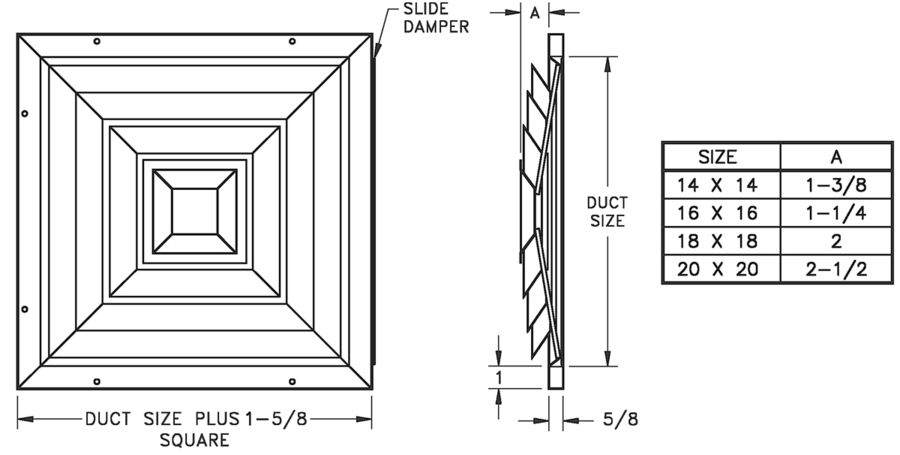 ECSD — Heavy Duty Steel Evaporative Cooler Diffuser - dimensional drawing