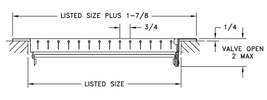 821 — Steel Register Vertical Fins, MS damper - dimensional drawing