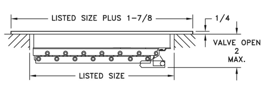 831 - Steel Register Horizontal Fins, MS damper - dimensional drawing