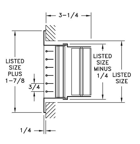 92HVV - Steel Double Deflection Register, OBD damper - dimensional drawing