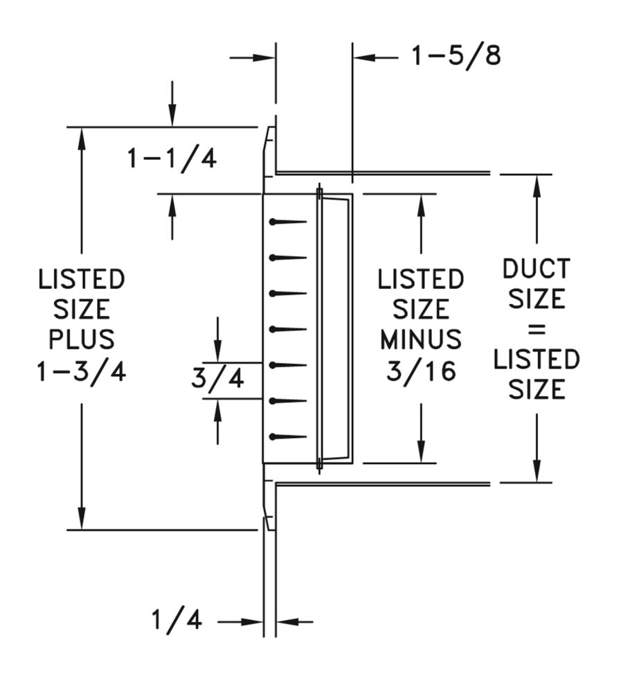 HV - Aluminum Double Deflection Register, No damper - dimensional drawing