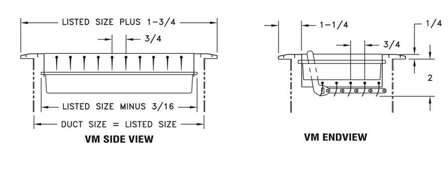 VM - Aluminum Register, Adj Vertical Blades with MS damper - dimensional drawing