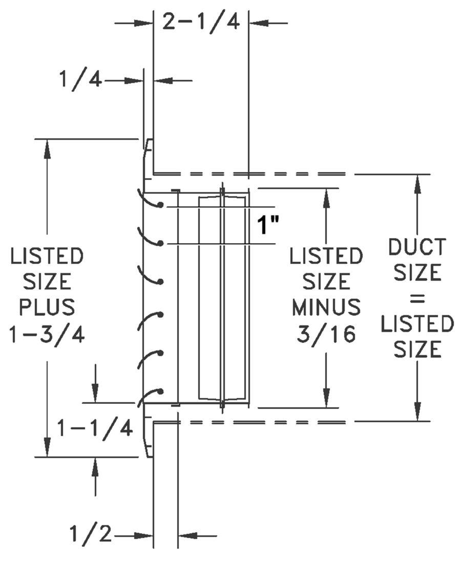 CHD2 - Aluminum Curved Blade, 2-way Register, OBD damper - dimensional drawing