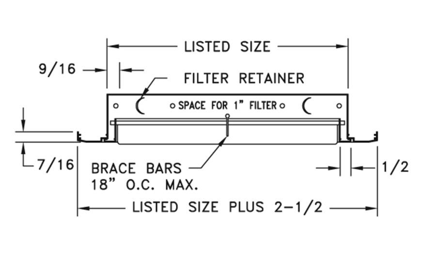 RCBF — Aluminum Curved Blade Return Air Filter Grille, 40-degree Fixed Blade - dimensional drawing