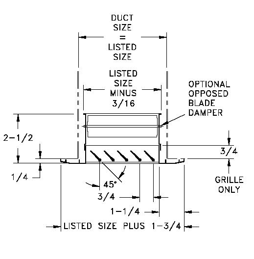 RHD45 - Aluminum Return Air Grille, 45-degree Fixed Blade, OBD damper - dimensional drawing