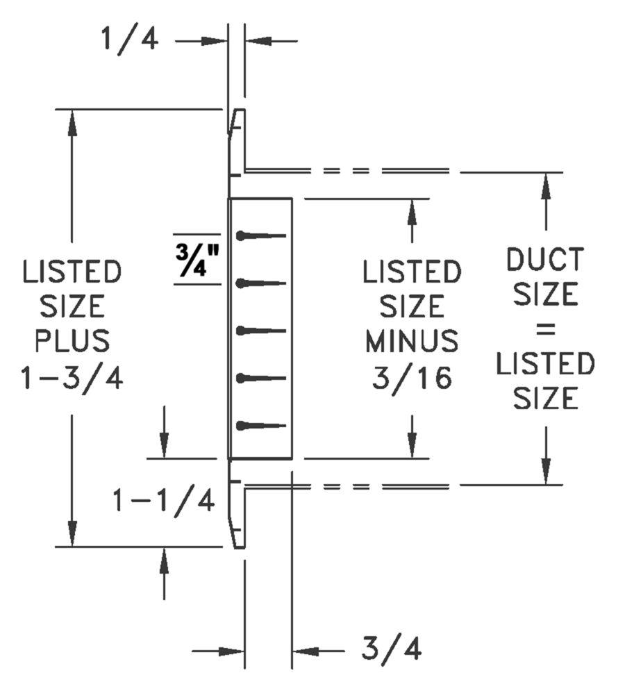 RH90 - Aluminum Return Air Grille, 0-degree Fixed Blade - dimensional drawing