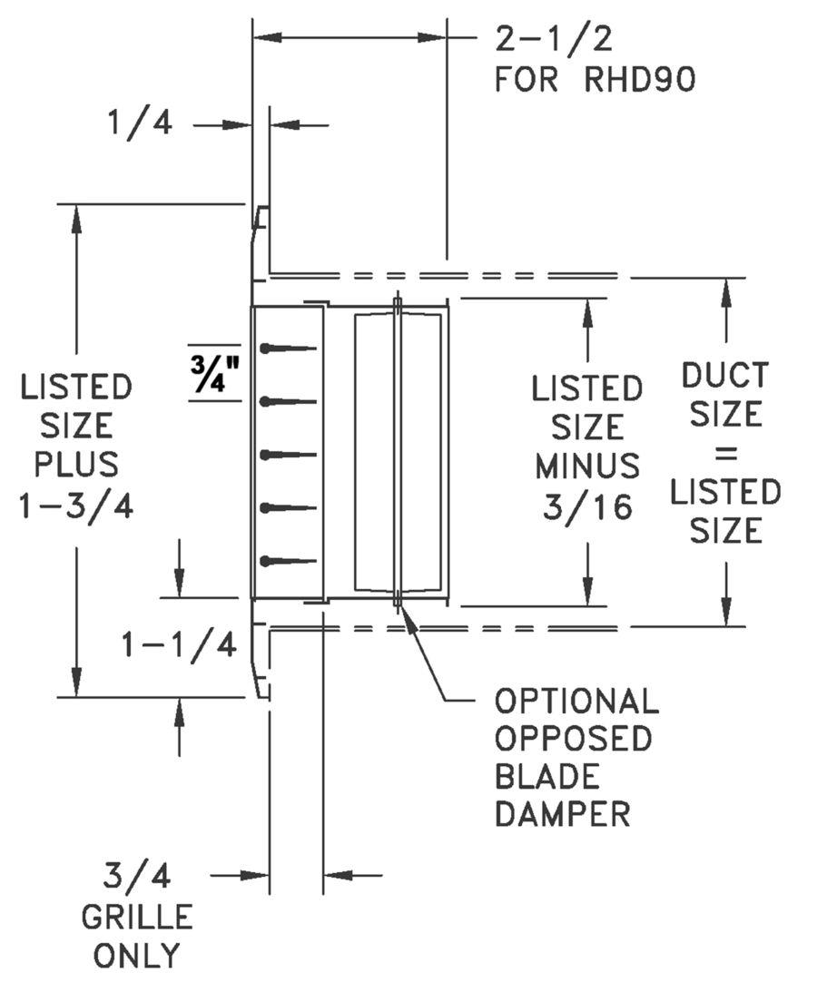 RHD90 - Aluminum Return Air Grille, 0-degree Fixed Blade, OBD damper - dimensional drawing