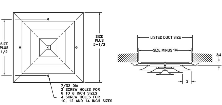 24 - Steel, Step Down, Square Diffuser - dimensional drawing