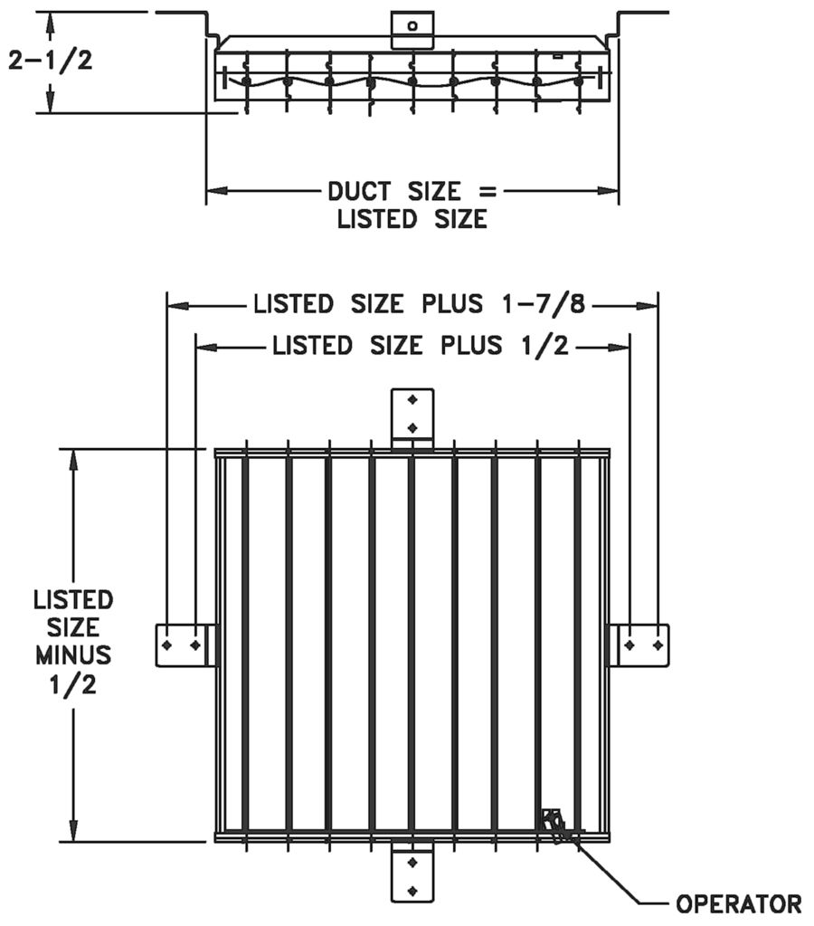 23 - Steel Opposed Blade Damper for #24 Diffuser - dimensional drawing