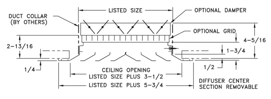 ARE — Aluminum Louvered Ceiling Diffuser, Flat Margin - dimensional drawing