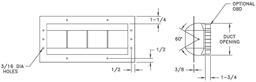 DL - Aluminum Drum Louve - dimensional drawing