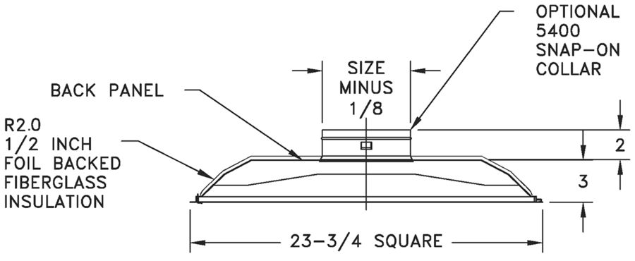 444 - Aluminum Renovator Series Diffuser 1-2-3-4 or 2-way Corner, Insulation Blanket - dimensional drawing