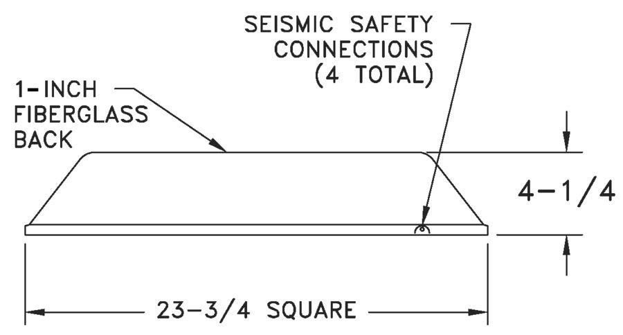 REN4 - Aluminum Renovator Series Diffuser 4-way, Molded Insulation -- dimensional drawing