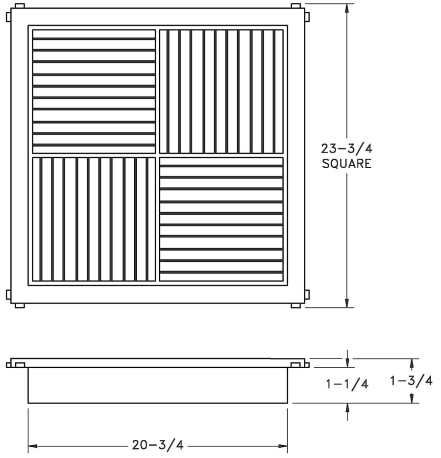 RZMCDST - Rezzin Modular Core Diffuser - dimensional drawing