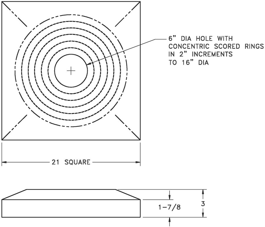 RZBP - Square to Round Back Panel for RZMCDST Diffuser - dimensional drawing
