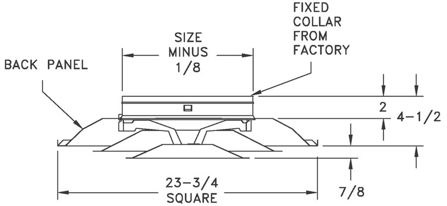 """FPD/FPDR6/AFPD/AFPDR6 - Steel/Aluminum 4-way Diffuser, 2 Cone Design, 6-14"""" Fixed Collars - dimensional drawing"""
