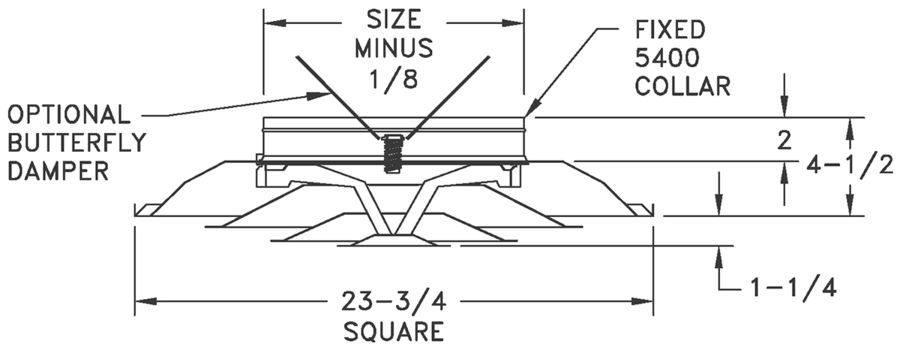 """FPD3/FPD3 R6 - Steel 4-way Diffuser, 3 Cone Design, 6-14"""" Fixed Collars - dimensional drawing"""