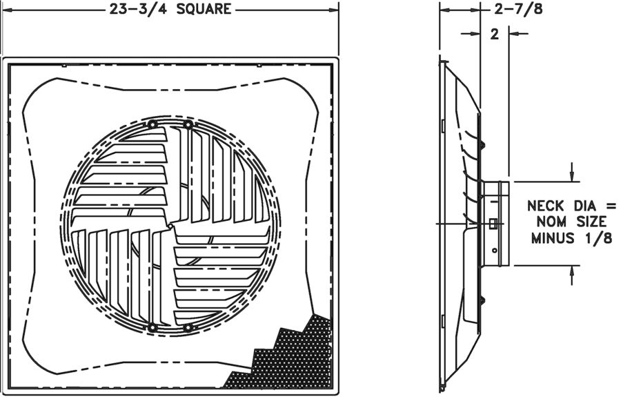 """SCBPS — Steel Stamped Curved Blade Perforated Supply, 6-14"""" Fixed Collars - dimensional drawing"""